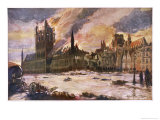 The Burning of the Cloth Hall in Ypres Belgium Giclee Print by Alfred Bastien