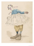 Clown Wearing Very Large Shoes Flowers in His Hair Glasses and a Pink Tutu Giclee Print by Jules Garnier