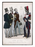 French Soldiers with Three Civilian Men Giclee Print by De Bierne