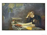 Robert Schumann German Musician Depicted Composing the Dichterliebe, Giclee Print