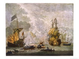"Capt Kempthorn in ""Mary Rose"" Defeats Seven Algerian Men-Of- War Premium Giclee Print by Van De Velde"