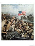 Americans Triumphant Land on Japanese Soil Near Tokyo Giclee Print by Rino Ferrari