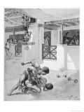 The Pancratium: Two Boys Wrestling Giclee Print by Andre Castaigne