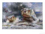 French Tanks in Action Towards the End of the War Giclee Print by Francois Flameng