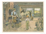 Children Watch as the Village Blacksmith Working Giclee Print by Francis Bedford