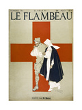 Red Cross Nurse Assists a Bandaged Soldier Reproduction proc&#233;d&#233; gicl&#233;e par Armand Rapeno