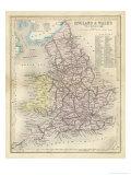 Carta dell'Inghilterra e del Galles, con linee ferroviarie e canali, in inglese Stampa giclée di James Archer