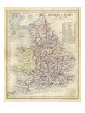 Map of England and Wales Showing Railways and Canals Giclee Print by James Archer