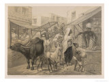 Busy Scene at an Indian Bazaar Giclee Print by Captain G.f. Atkinson