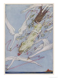 The Princess Carried by the Swans Giclee Print by Harry Clarke