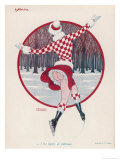 Brightly Dressed Girl Whizzes Around on the Ice, She Doesn't Seem to Feel the Cold Either Giclee Print by F. Couderc