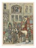 Cheapside City of London: a Busy Scene Including a Horse Bus Pedestrians and a Mechanical Clock Impressão giclée por F.d Bedford