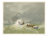 Lifeboat Going to the Aid of a Sailing Ship in Trouble Giclee Print by Edward Duncan