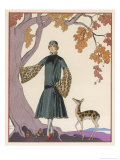 Fur Hat and Coat by Worth Giclee Print by Georges Barbier