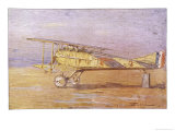 French Ace Georges-Marie Guynemer's Spad-VII Fighter in Which He Has Shot Down Many Enemy Aircraft Giclee Print by Henri Farre