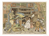 Children Look at All the Animals and Birds for Sale as Pets in This Shop Giclee Print by Francis Bedford