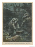 Italian Divers Working at Brest France Explore the Wreck of the British Steamship Egypt Giclee Print by Achille Beltrame