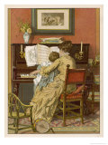 German Mother and Child at the Piano Premium Giclee Print by Woldemar Friedrich