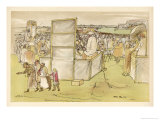 Scene at Epsom During Derby Day Where Crowds Gather Next to Several Bookmakers Giclee Print by William Gaunt