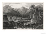 Tribal Dance of the People of Viti Levu the Largest Island in the Fiji Group Reproduction procédé giclée par E. Aubert