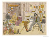 Customers Try out Some of the Merchandise in a Sports Shop Giclee Print by Francis Bedford