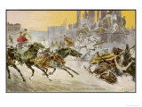 Furious Roman Chariot Race in Progress Giclee Print by V. Checa