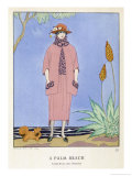 Tailored Suit by Worth in Salmon Pink and Black Giclee Print by Georges Barbier