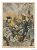 French Wine Growers Riot at Beziers Against Doctored Wine Gicleetryck av Achille Beltrame