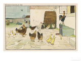 The Cock Mounted on Top of the Coop is Able to Look into the Farmhouse Giclee Print by Cecil Aldin
