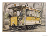 Tram on the Clagny-Versailles Line Paris Suburbs Giclee Print by Jean Dolfuss