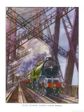 London and North Eastern Railway Train Crosses the Forth Bridge Near Edinburgh Scotland Giclee Print by R.m. Clark