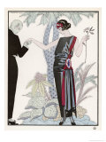 Sleeveless Slash Neck Chinese or Orientally Inspired Black Dress by Worth with Red Tassel Detail Giclee Print by Georges Barbier