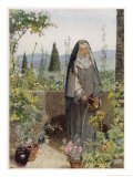 Clare of Assisi Tending to Plants Giclee Print by Eleanor Fortescue Brickdale