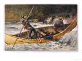 Fishing for Trout in Rapids Canada Giclee Print by Frank Feller