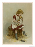 Small Girl Nurses a Sick Puppy Giclee Print by Harriet M. Bennett