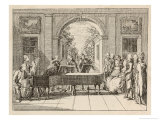 Five Instrumental Performers and a Singer Entertain an Aristocratic Audience in a Stately Home Giclee Print by Daniel Chodowiecki