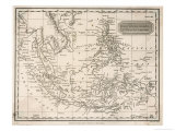 Map of the East India Islands Including the Philippines the Celebes Papua New Guinea Sumatra, Giclee Print