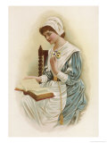 Young Puritan Reads Her Bible But Allows Herself a Touch of Vanity in Her Dress Giclee Print by Lydia Frances