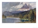 Italy: Lago Di Misurina in the Dolomites with Jagged Rocky Mountains in the Distance Premium Giclee Print by Harrison Compton