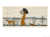Rain or Fine Dogs Must be Taken for Their Walk Giclee Print by Bernard Boutet De Monvel