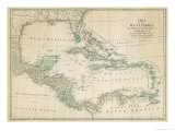 Carte des Cara&#239;bes, Antilles et c&#244;tes des &#201;tats-Unis Reproduction proc&#233;d&#233; gicl&#233;e par John Blair