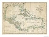 Carte des Caraïbes, Antilles et côtes des États-Unis Reproduction procédé giclée par John Blair