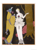 Mantle with a Yoke Voluminous Sleeves and Fur Trim and Close Fitting Hat with Aigrette Giclee Print by Georges Barbier