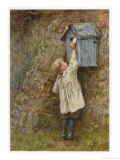 Boy Stretches to Post a Letter in the Box at Bowler's Green Surrey Giclee Print by Helen Allingham