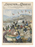 New Addition to the Italian Fleet is Launched at La Spezia Giclee Print by Achille Beltrame