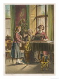 Two Women and a Girl Making Music at the Piano Giclee Print by H. Burkner