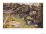 During World War One British Infantry Though Some are Wounded Advance with Fixed Bayonets Giclee Print by Cyrus Cuneo