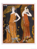 Orientally Inspired Gowns by Worth in Lacquer Reds Giclée-trykk av Georges Barbier