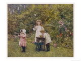 Three Smocked Youngsters Blow Bubbles from a Dish of Soap Suds Premium Giclee Print by Helen Allingham