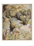 Hop O' My Thumb and the Sleeping Giant's Boots Giclee Print by Anne Anderson